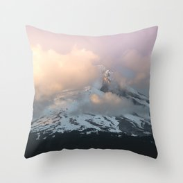 Pink Fog Mountain Morning Throw Pillow