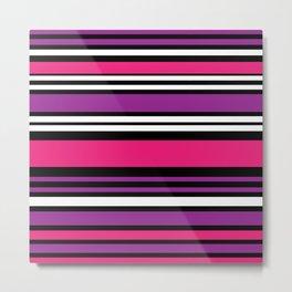Stripes Pink Purple Black White Metal Print