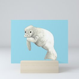 Manatee Simple Blue or White background Mini Art Print