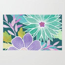Watercolo Flowers on Teal Rug