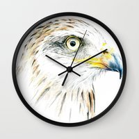 animal crew Wall Clocks featuring Animal by Andreas Derebucha