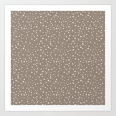 PolkaDots-Peach on Taupe Art Print