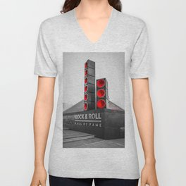 Cleveland Ohio Rock And Roll Hall Of Fame Black White Red Unisex V-Neck