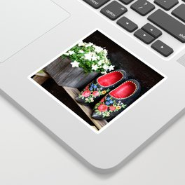 Clogs and te flowers Sticker