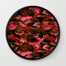 Camouflage (Red) Wall Clock