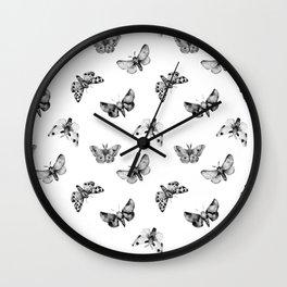 Autumn Night Moth White Wall Clock