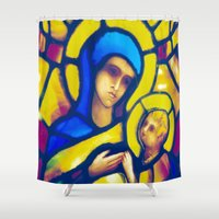 madonna Shower Curtains featuring Madonna and Child by pennyprintables