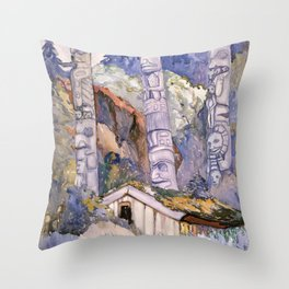 Emily Carr - Haida Totems, Cha-atl, Queen Charlotte Island - Canada, Canadian Oil Painting Throw Pillow