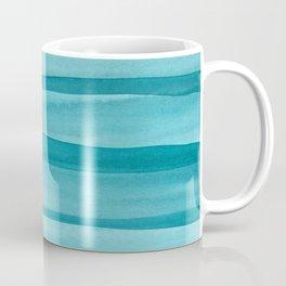 Teal Watercolor Lines Pattern Coffee Mug