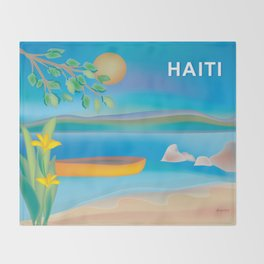 Haiti - Skyline Illustration by Loose Petals Throw Blanket