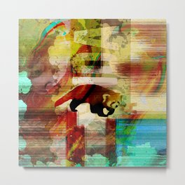 Red Panda Abstract  mixed media art collage Metal Print
