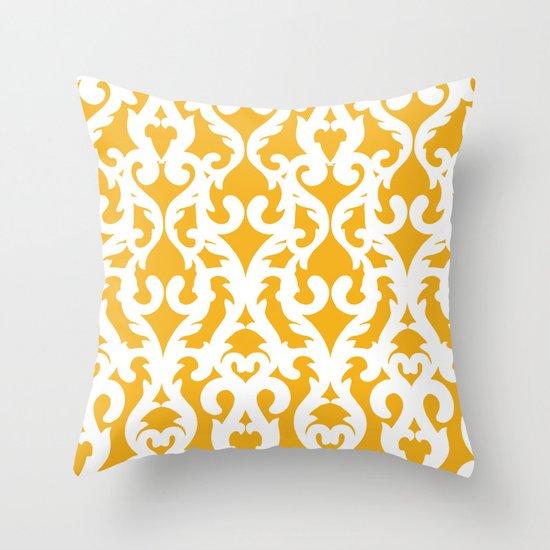 Modern Baroque Yellow Throw Pillow