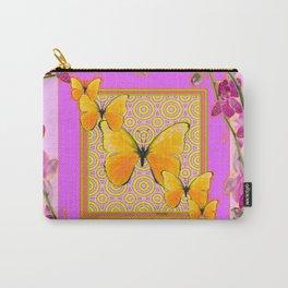 Golden Butterflies Purple-Pink Orchids Art Carry-All Pouch