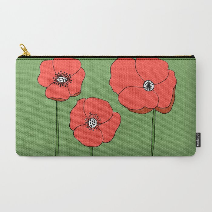 Red Poppies by Emma Freeman Designs Carry-All Pouch