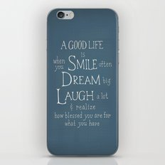 Smile,Dream,Laugh - Inspirational quote iPhone & iPod Skin