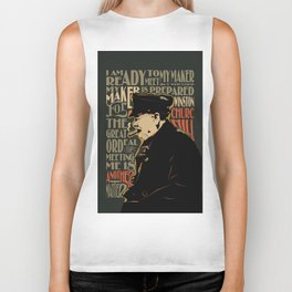 Winston Churchill Pop Art Quote Biker Tank