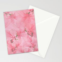 Blush pink green watercolor orchids flowers  Stationery Cards