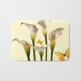 Ivory Calla Lilies Yellow Butterflies Bath Mat
