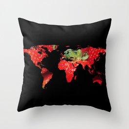 World Map Silhouette - Strawberries Throw Pillow