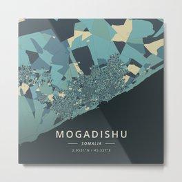 Mogadishu, Somalia - Cream Blue Metal Print