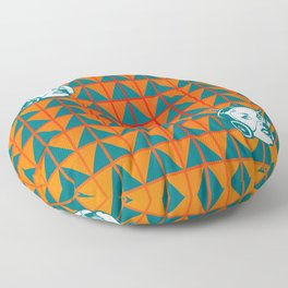 Faces: SciFi lady on a teal and orange pattern background Floor Pillow