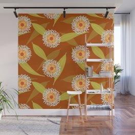 Australian Flora on Burnt Orange Wall Mural