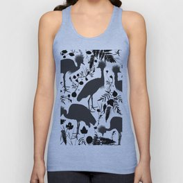 Black crowned crane with grass and flowers black silhouette Unisex Tank Top