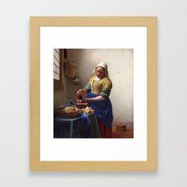 Jan Vermeer-The Milkmaid Framed Art Print