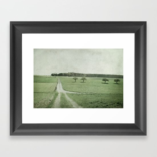 pathways, fields and trees Framed Art Print