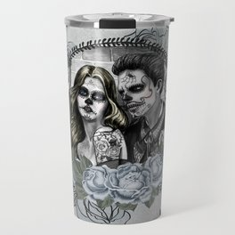 Day Of The Dead , Silver Rose Skulls Travel Mug