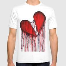 Bleeding Heart White SMALL Mens Fitted Tee