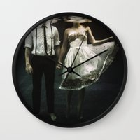 surreal Wall Clocks featuring abyss of the disheartened : IV by Heather Landis