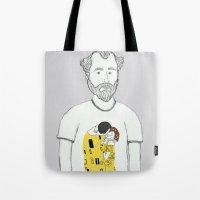 gustav klimt Tote Bags featuring Gustav Klimt portrait by Irene LoaL