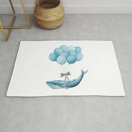 Whale With Balloons -  blue Rug