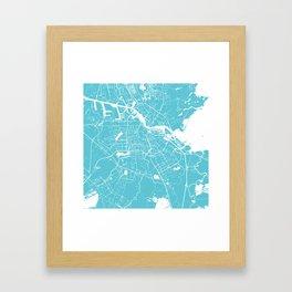 Amsterdam Turquoise on White Street Map Framed Art Print