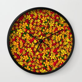 Orange & Yellow Flowers on Red Wall Clock