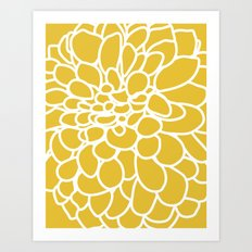 Mustard Yellow Modern Dahlia Flower Art Print