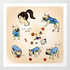 French bulldog playing with a basketball Art Print