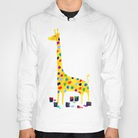 number Hoodies featuring Paint by number giraffe by Picomodi
