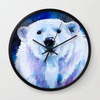 polar bear Wall Clocks featuring Polar bear  by Slaveika Aladjova