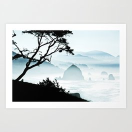 Misty Canon Beach Scenic from Ecola State Park Art Print