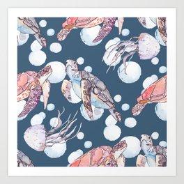 Underwater sea pattern. Sea turtles and jellyfish. Ocean vector. Art Print
