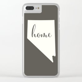 Nevada is Home - White on Charcoal Clear iPhone Case