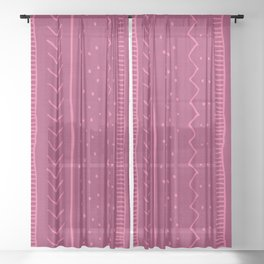 Moroccan Stripe in Magenta Sheer Curtain