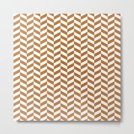 Copper Orange Herringbone Pattern Metal Print