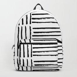 Modern black white watercolor paint brushstrokes Backpack