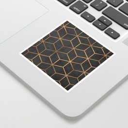 Charcoal and Gold - Geometric Textured Cube Design I Sticker