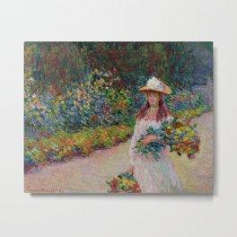 """Claude Monet """"Jeune fille dans le jardin de Giverny"""" Metal Print"""