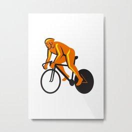 Cyclist Riding Cycling Racing Retro Metal Print