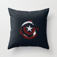 shield Throw Pillows featuring Cap's Shield by George Hatzis